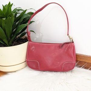 Vintage 90s Red Faux Leather Mini Handbag